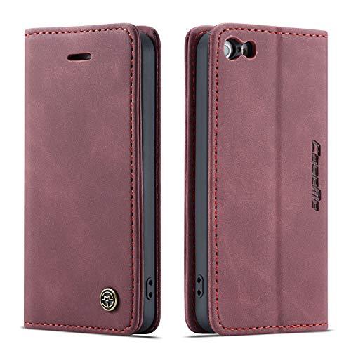 Bigcousin Funda Compatible con iPhone 5/5S/SE 2016,Funda Libro con Tapa Funda Móvil Magnética Carcasa,Vino Rojo