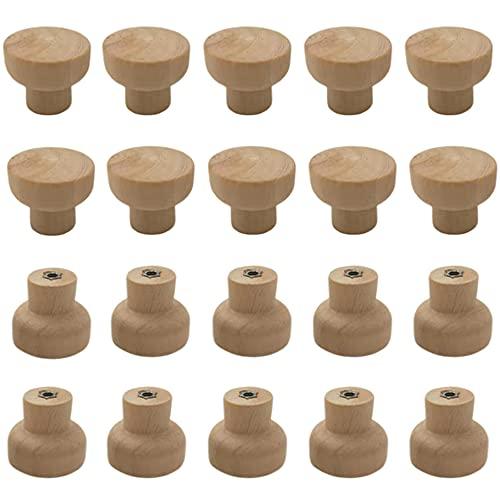 20 pomos redondos de madera para muebles, pomos y tiradores para armarios y cajones