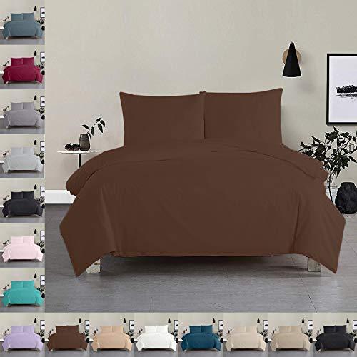 Bettwäsche Bettgarnitur Bettbezug 100% Baumwolle 135x200 155x220 200x200, Farbe Bettwäsche:Braun, Größe Bettwäsche:135 x 200 cm