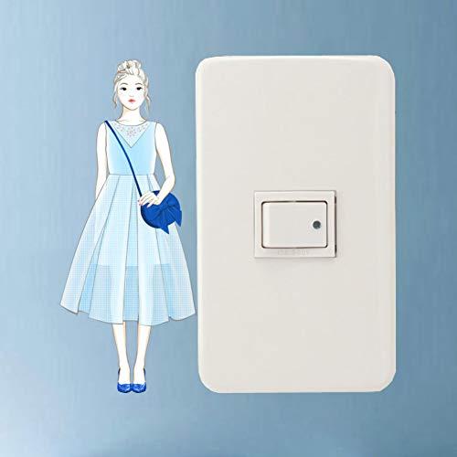 YCEOT Een Meisje in Een Lichtblauwe Jurk Schakelaar Decal Woonkamer Slaapkamer Muursticker PVC Woondecoratie Accessoires