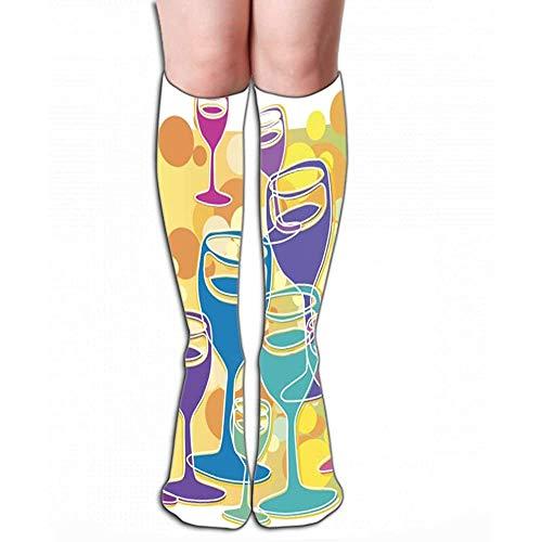Calcetines de compresión Mujeres hasta la rodilla u hombres: las mejores medias para correr, médicas, vítores de champán de 19.7 '(50 cm) geométricos