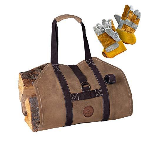 GameGa, Waxed Canvas Log Carrier, Firewood Holder, Elegant Wood Bag Carrier...