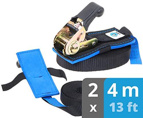 valonic eslingas con carraca | Acolchado | EN-12195-2 | cinchas de Amarre con trinquete | para Sup Board o Moto | 800 Kg | 4m | 25mm | 2 Piezas | Negro