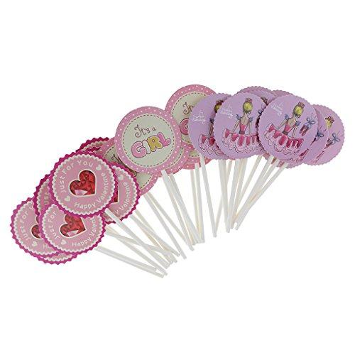 Packung Mit 30 Stück Happy Valentine Cake Topper Baby Announcement Cupcake Picks Für Mädchen