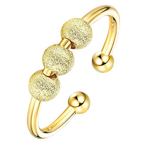 LFONCE Anillo para La Ansiedad Abierto Spinner Y Fidget Ring Ajustable Girar Anillo Giratorio En Espiral 3 Cuentas Descomprimir Herramientas para Hombres Mujeres (Gold)