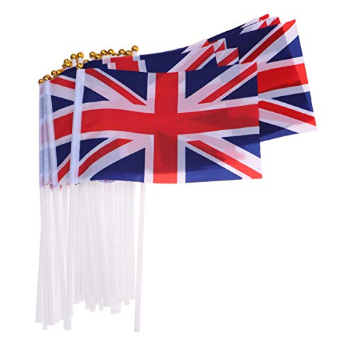 LIOOBO 50 Piezas Bandera ondeante Jubileo Banderas portátiles de Gran Bretaña Bandera del Reino Unido Bandera ondeante Bandera de Mano para Eventos Deportivos
