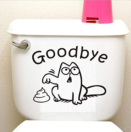 EyingEr Funny Toilet'Goodbye'Simon'S Cat Toilet Stickers Washing Bathroom Decor For Home Decoration 3D Vinyl Decals Wall Stickers15Cm * 19Cm
