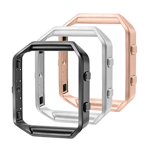 bayite Replacement Accessory Steel Frame Compatible Fitbit Blaze Smart Watch Pack of 3, Black, Silver and Rose Gold