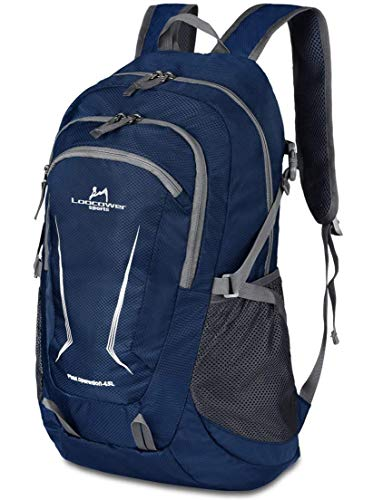 Loocower 45L Packable Ultralight Hiking Backpack, Foldable Lightweight Multi-functional Casual Camping Trekking Rucksack Cycling Travel Climbing Mountaineer Outdoor Sport Daypack Bag - Blue