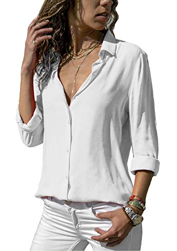 ZC&GF Damen Bluse Chiffon Elegant Langarm Oberteile Einfarbig V-Ausschnitt Hemdbluse...