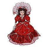 F Fityle Conjunto de Vestido Rojo de Manga Larga con de Pie de Muñeca Clásica de Porcelana de 40 Cm