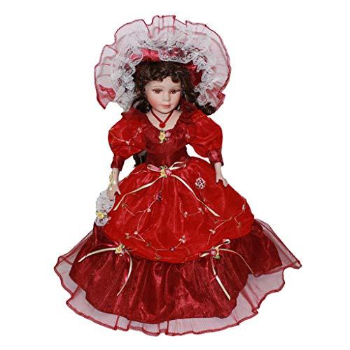 MagiDeal 40 Centimetri Bambola Vittoriana in Porcellana Femminile con Abito Imperiale Cappello Ornamento per Casa Ufficio
