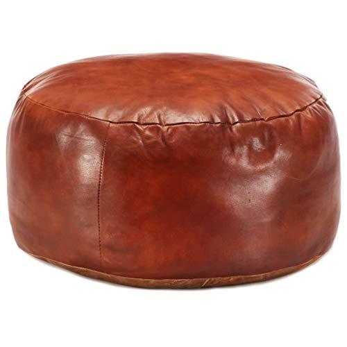 Festnight Sitzpouf Pouf Sitzwüfel Leder-Hocker | Dekohocker Sitzpuff für Wohnzimmer Schlafzimmer | Hellbraun Rund 60 x 30 cm Echtes Ziegenleder