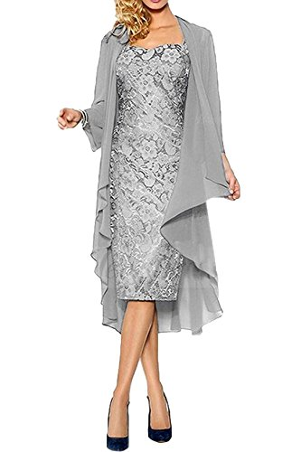CoCogirls Mutter Hochzeitskleid Abendkleider Spitze Abendkleid Ballkleid Partykleid Hochzeit Brautmutterkleid mit Jacke (48, Silver)