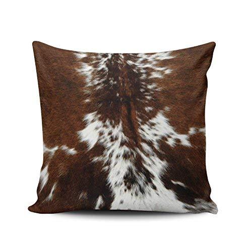 WSMBDXHJ Fundas de cojín de piel de vacuno marrón y blanco, 50 cm x 50 cm, fundas de almohada para sofá de sala de estar