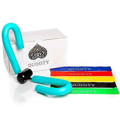 Quooty ® Oberschenkeltrainer & Resistance Bands [5 Stück] Heimtrainer Sport Set - inkl. Trainingsvideos & gesunden Rezepten für den Alltag