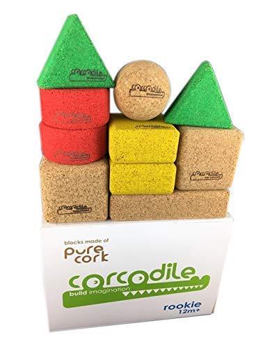 Corcodile Rookie Bauklötze aus 100% Kork für Kinder ab 12 Monate, Hochwertiges und Nachhaltiges Waldorf Spielzeug