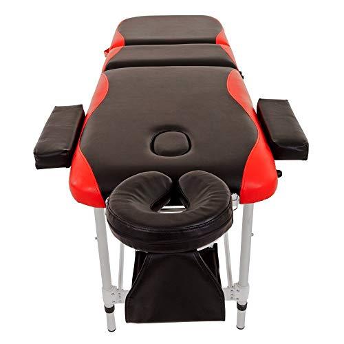 Takefuns Mesa de masaje sofá cama aluminio belleza tatuaje spa 3 secciones con cuero PU y 5 cm alta densidad multi-capa espuma reposacabezas brazo apoyo y bolsa de transporte rojo