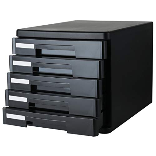 SHANCL Organizer da Scrivania Armadio for Ufficio Cassettiera in plastica a 5 Strati for Ufficio (Color : Black)