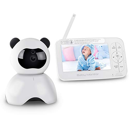 "Baby Monitor, 5"" Digital Video Baby Camera, HD 720P Two-Way Talk Audio Pan Tilt, 5 Inch Color LCD Display Screen, Night Visio Lullabies Sound Sensor Temperature Alarm Plug & Play Up to 900ft Range"