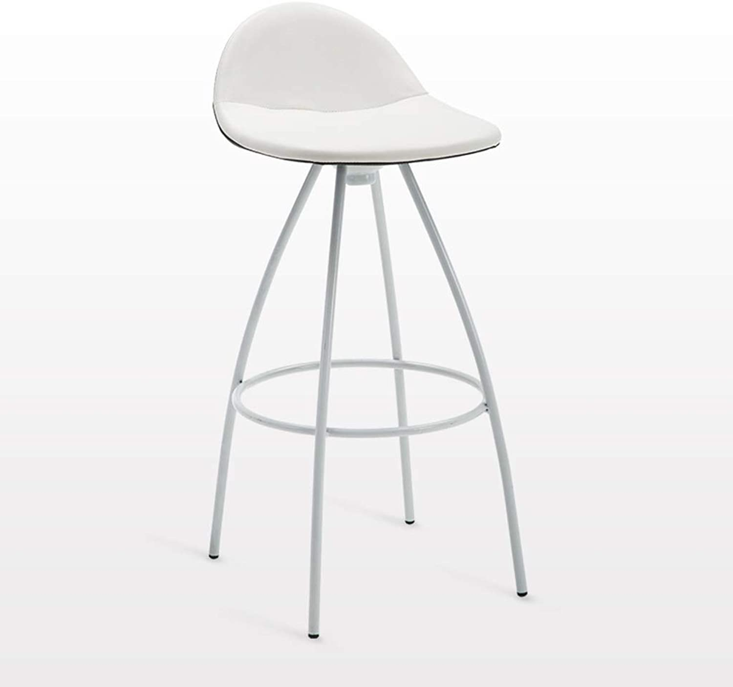 Casual Bar Chair, Metal PU Seat Surface Bar Stool Cocktail Party Party Bar Stool Breakfast Bar Counter High Stool Height 85CM (color   Pure White)