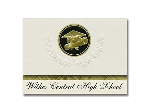 Signature Announcements Wilkes Central High School (Wilkesboro, NC) Abschluss-Ankündigung, Presidential Style, Elite Paket mit 25 Cap & Diplom-Siegel, Schwarz & Gold