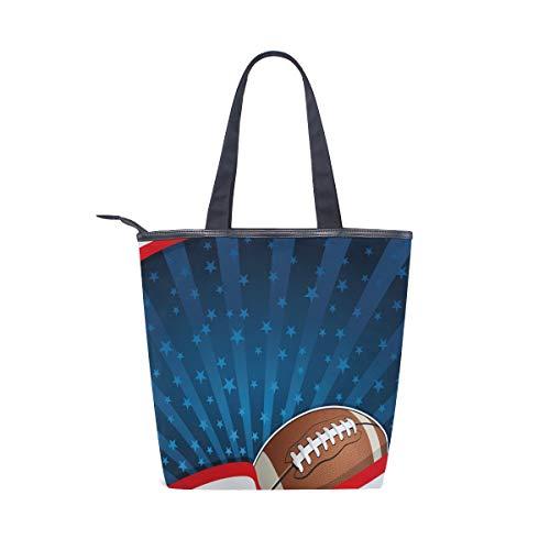 BKEOY Große Handtasche American Football abstrakte Streifen Sterne Tote Reißverschluss Shopper Tasche