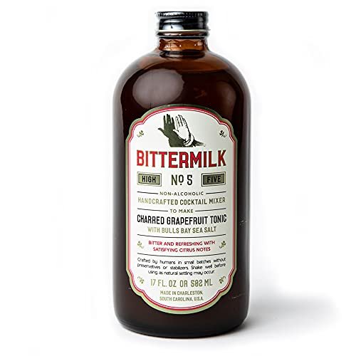 Bittermilk No.5 Charred Grapefruit Tonic with Bulls Bay Sea Salt – All Natural Handcrafted Cocktail Mixer – Just Add Vodka, Gin, Rum or Tequila, Makes 17 Cocktails