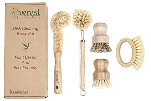 Eco Friendly Kitchen Dish Cleaning Set - Biodegradable and Highly Durable   Perfect for Zero Waste Homes   5 Piece Set