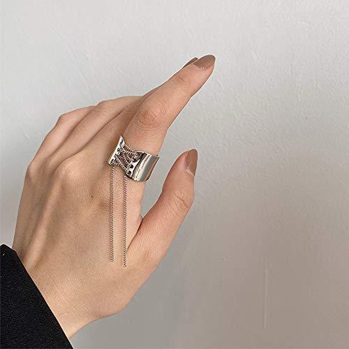 Anglacesmade Anillo gótico para nudillos, cadena de metal con borla media abierta, anillo punk de plata para mujeres o hombres