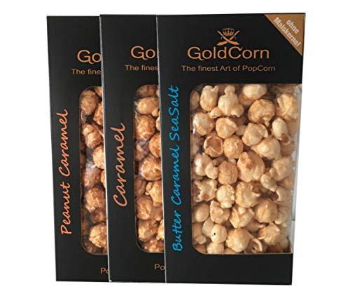 Gourmet Popcorn Klassik Karamell + Peanut Caramel + Butter SeaSalt Feinkost Snack Premium Popcorn Set (3 x 100g) Fertiges Popcorn & Popcorntüte | GoldCorn