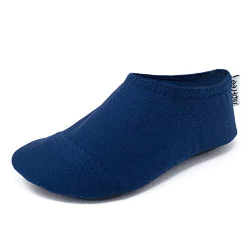 Slipfree - Zapatillas de natación para niños antideslizantes UPF50+ descalzos, para playa, piscina y hogar, color azul marino pequeño
