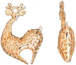 Heart-Shaped Sika Deer Gold-Finished Pendant 31X45.6mm sold per 2pcs/pack (2packs bundle), SAVE $1
