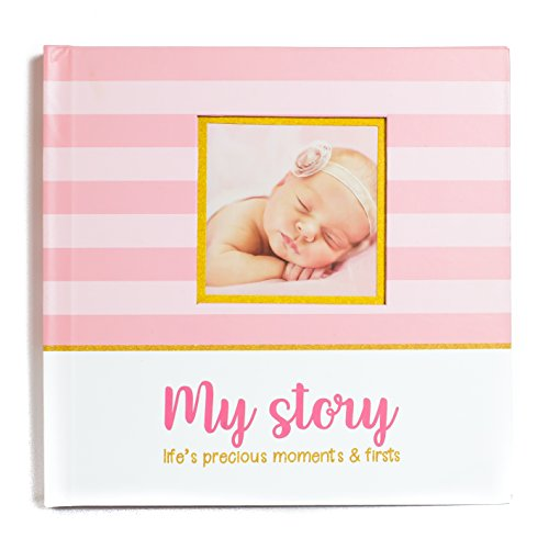 First Year Baby Memory Book & Baby Journal (3 Color Styles Available). Perfect for Boys or Girls Baby Shower Gift. First 5 Years Scrapbook, Keepsake & Photo Journal. Unisex, Pink