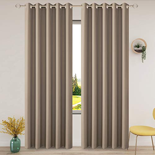 FLOWEROOM Thermal Blackout Curtains for Bedroom, 66 x 90 inches Long, Taupe - Winter Energy Saving/Summer Sun Blocking/Noise Reducing Window Curtain for Living Room, Set of 2 Eyelets Curtains