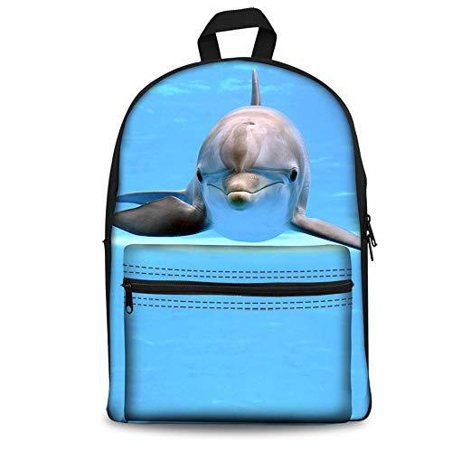 Foruidea - Mochila para niños (38 cm), diseño de delfín oceánico