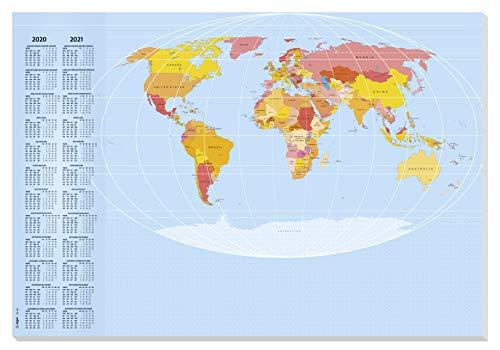 SIGEL HO440 Papier-Schreibunterlage Weltkarte, ca. DIN A2 - extra groß, mit 2-Jahres-Kalender 2020 2021, 30 Blatt - weitere Designs