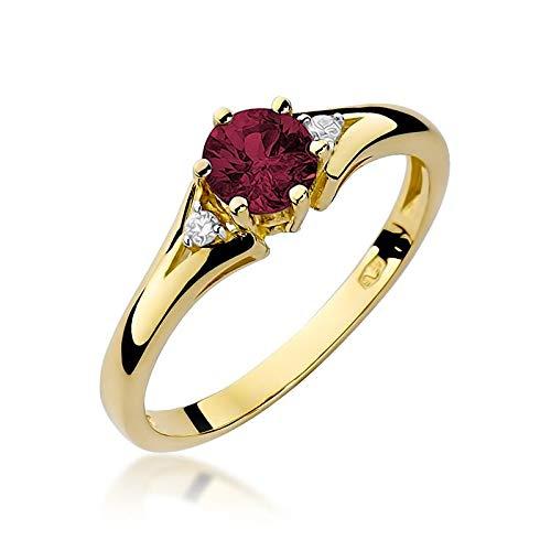 Damen Ring 585 14k Gold Gelbgold echt Rubin Edelstein Diamanten Brillanten