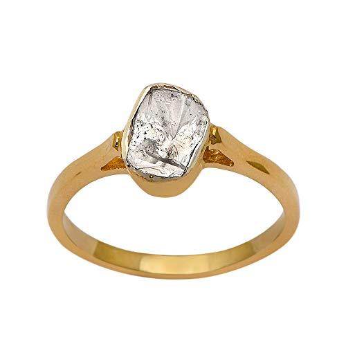 0.50 CTW anillo solitario de talla lejana con diamantes de talla rosa, anillo hecho a mano de plata de ley y oro vermeil (10)