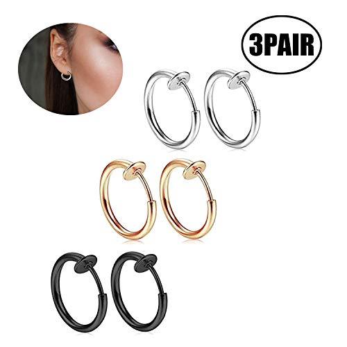 Xhuan gioielli 3 paia creoles orecchini uomo donna Pinza di orecchio clip anello non-percées Acciaio Inox con sacchetto (-)