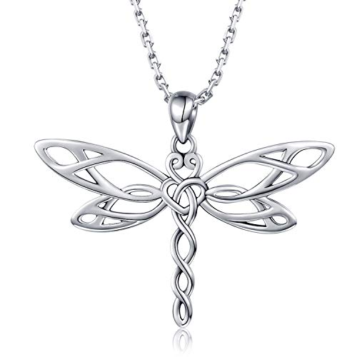 JZCOLOR | Sterling Silver Dragonfly Pendant Necklace | Irish Celtic Heart Shaped Knot