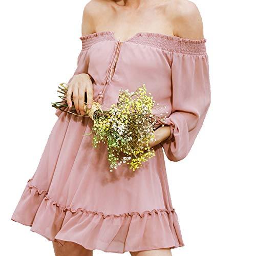 Mode Vrouwen Zomer Casual Uit Schouder Ruche Avond Party Cocktail Korte Jurk Pink XL