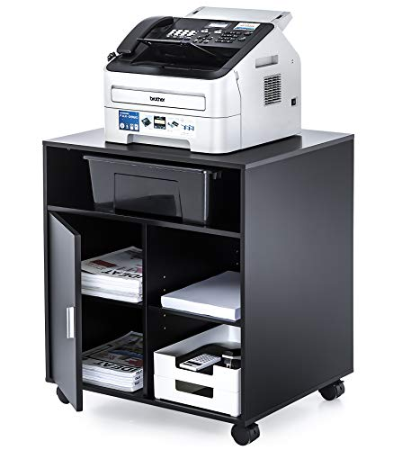 FITUEYES プリンター台 オフィスワゴン キャスター付き プリンターラック 木製 黒 600*500*673mm PS406001WB