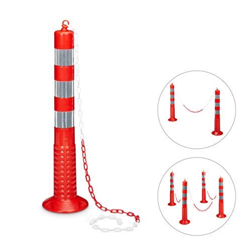 Relaxdays Absperrpfosten flexibel HBT: ca. 75 x 22 x 22 cm Kettenpfosten reflektierend mit praktischer Absperrkette als Sperrpfosten mit stabilem Standfuß zum Befestigen mit Schrauben, rot-grau