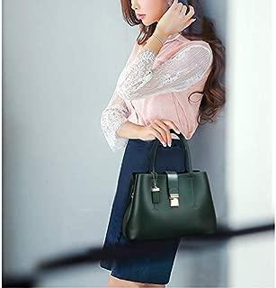 WTYD Single Shoulder Bag PU Leather Casual Metal Buckle Shoulder Bag Messenger Bag Ladies Handbag (Black) (Color : Green)