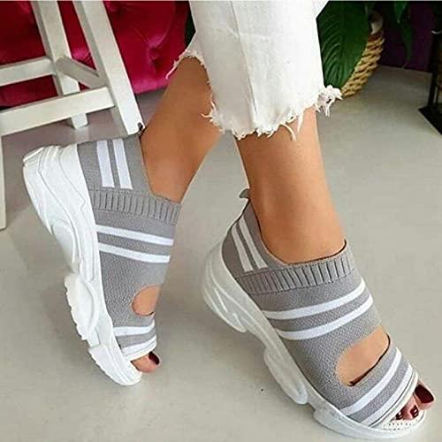 DZQQ Sandalias de Mujer Zapatos de Mujer Tejido elástico Slip On Peep Toe Cuñas Calzado Sandalias de Plataforma de Verano Zapatillas de Deporte Casuales para Mujer