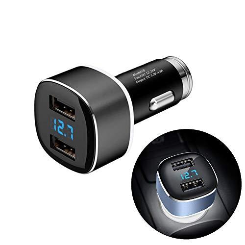 4.8A Chargeur rapide Double port Adaptateur de voiture USB avec la technologie de charge intelligente adaptative avec surveillance de tension led Protection intelligente pour voiture 12V-24V,Black
