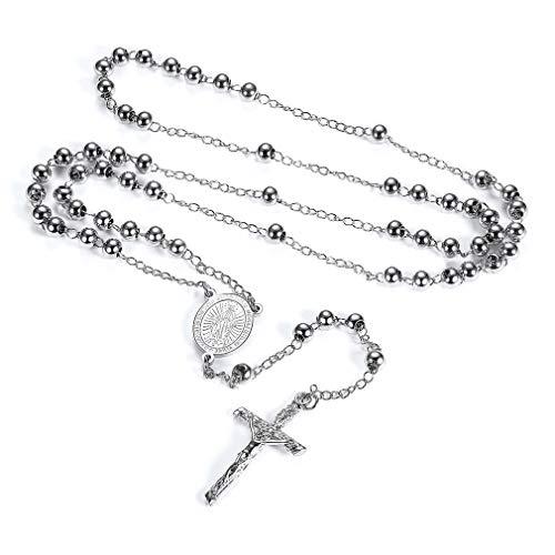 FaithHeart Edelstahl Rosenkranz für Damen und Herren mit Kreuz Anhänger Schutzengel Perlenkranz Silber Kette mit Jungfrau Maria Coins