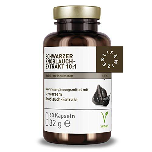 LifeWize® Schwarzer Knoblauch Extrakt Hochdosiert - Echter gereifter Knoblauchextrakt 10:1 - aus Deutschland - Vegan und ohne Zusatzstoffe