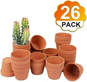 """[26 Pack] 4"""" Planter Nursery Pots Terracotta Pot Clay Pots Clay Ceramic Pottery Cactus Flower Pots Succulent Nursery Pots Garden Terra Cotta Pots with Drainage Hole (26)"""